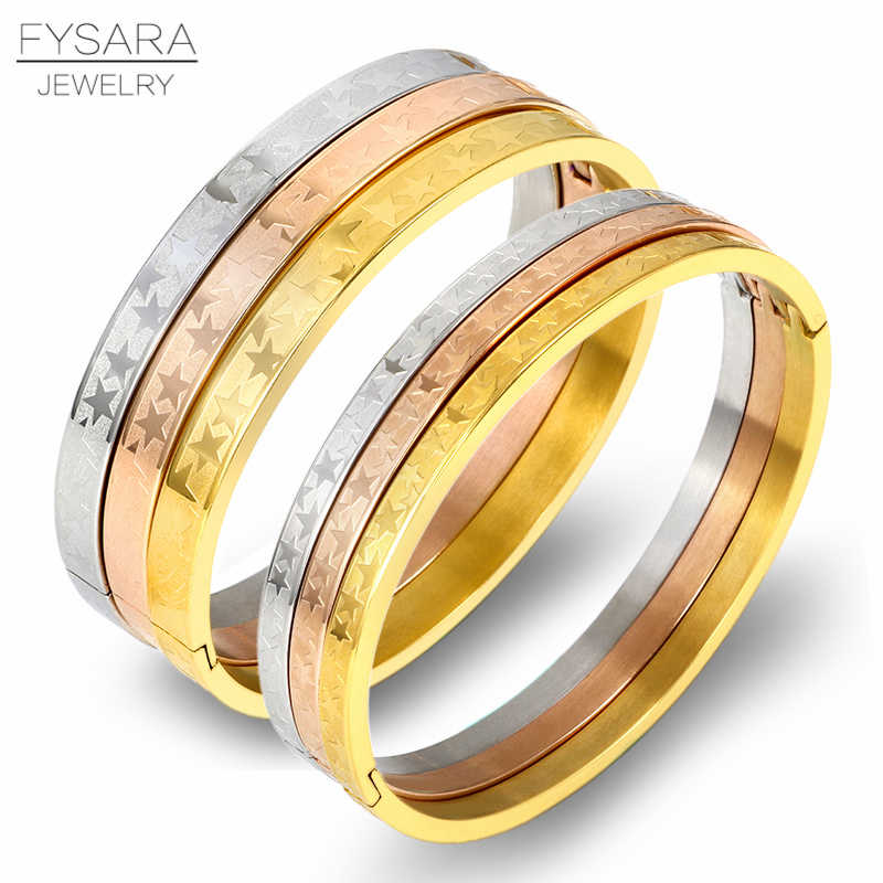 FYSARA Trendy Jewelry Stars Bangles Stainless Steel Bracelet Rose Gold Color Women Couple Wrist Bangles Custom Logo