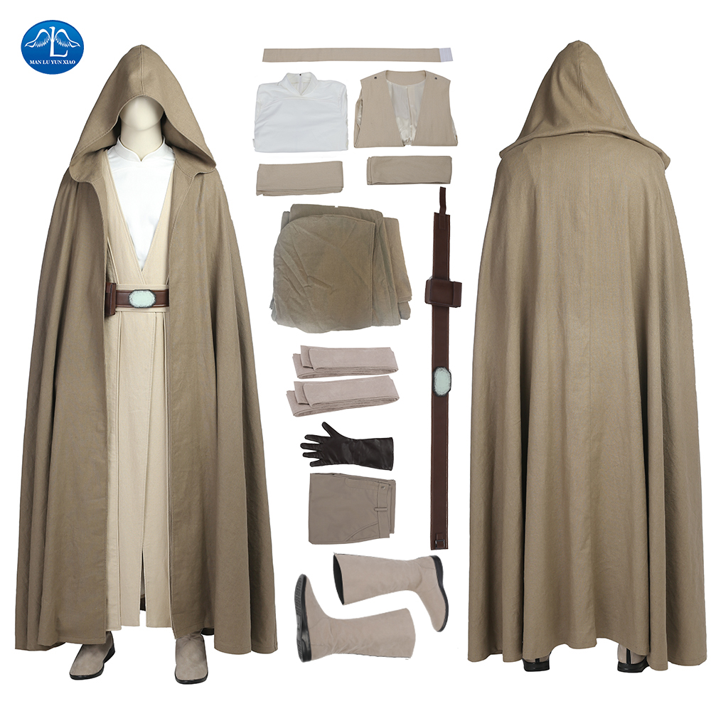 MANLUYUNXIAO New Men's Outfit Star Wars The Last Jedi Luke Skywalker Costume Halloween Cosplay Costume For Men Custom Made