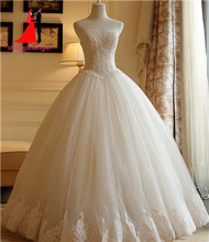 New Real Plus Size Ball Gown Wedding Dresses Sweetheart Tulle with Lace Appliques Vestidos De Noiva 2017 No Train Bridal Gown