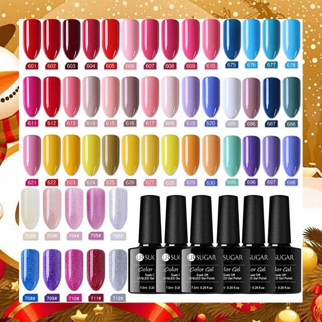 UR סוכר UV ג 'ל לק LED מנורת ג' ל לכה ג 'ל פולני טהור צבעים חצי קבוע ג' ל לכה אמנות פריימר בסיס מעיל עליון