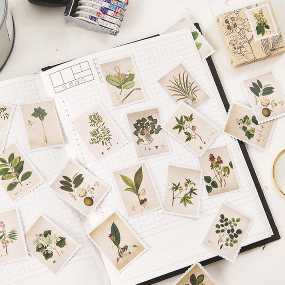 45 Pcs/ Box Vintage Plants Stamp Mini Paper Sticker Decoration DIY Diary Scrapbooking Seal Sticker