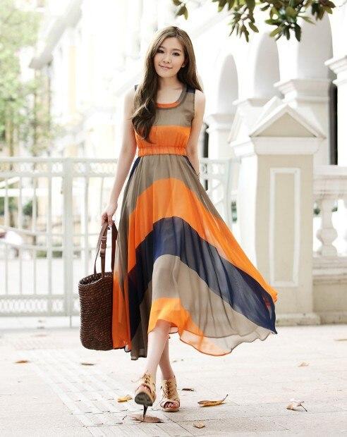 Free Shipping Western Style Big Lap Stripe Chiffon Dress Summer ...