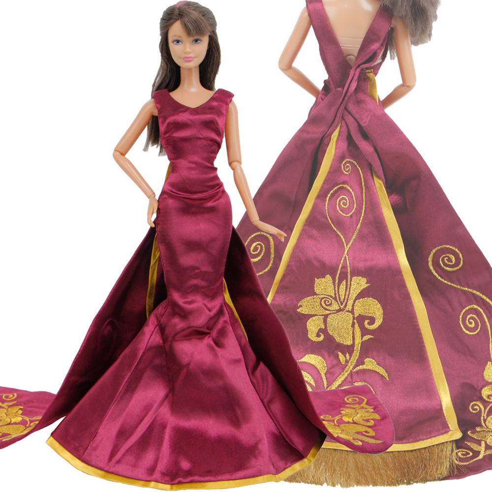 b280c648587c0 Limited Collection Luxury Princess Dress Wedding Party Wear Copy Rapunzel  Queen Gown Clothes for Barbie Doll Accessories Toy