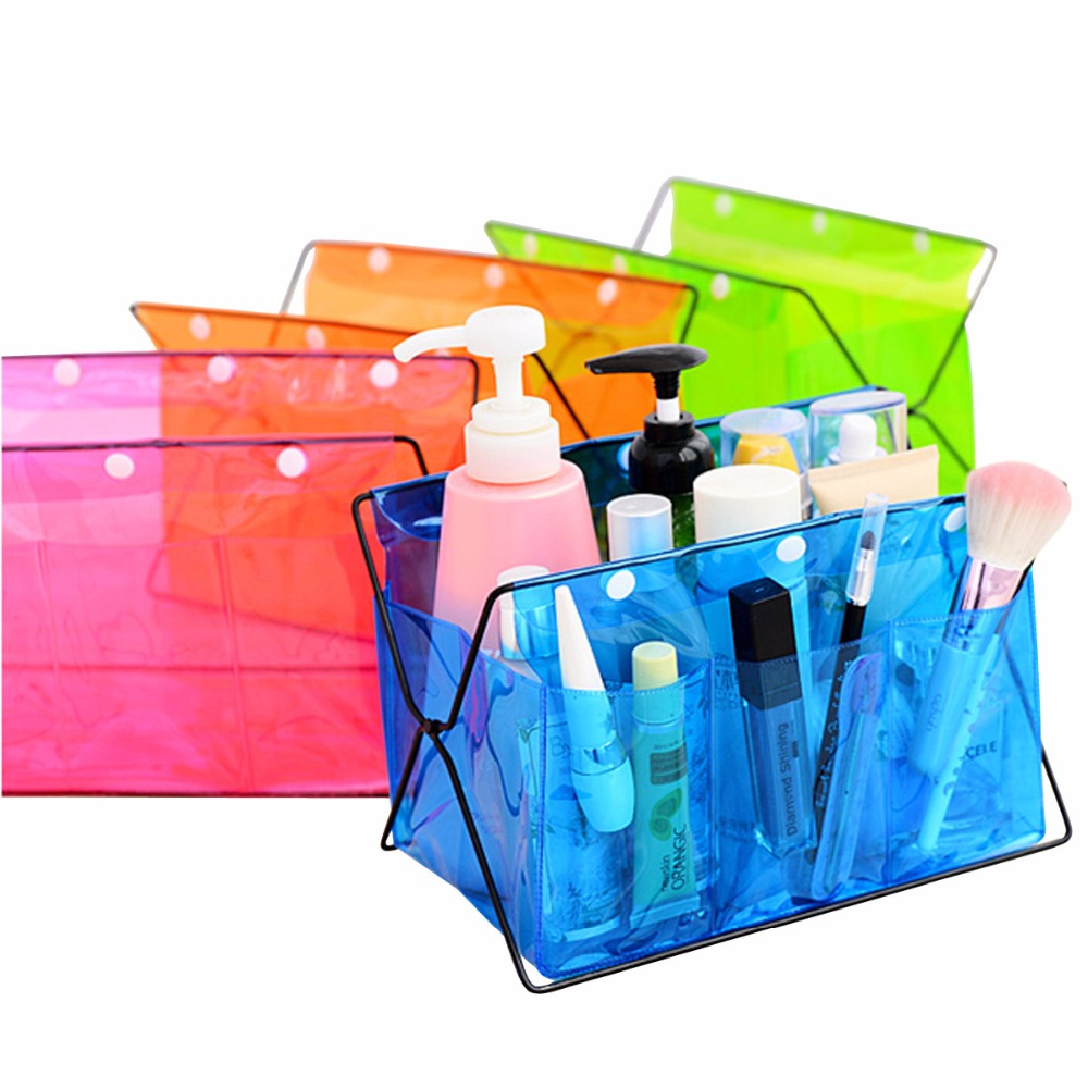 Hot Selling Fashion Jewelry Storage Box Case Makeup Cosmetic Bag Bright Organizer Transparent Foldable Container -42