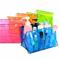 Hot Selling 2014 Fashion Jewelry Storage Box Case Makeup Cosmetic Bag Bright Organizer Transparent Foldable Container