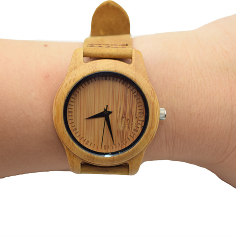 Hot Selling Japen MIYOTA Movement Quartz Bamboo Watch For Women With Genuine Leather Watchband For New