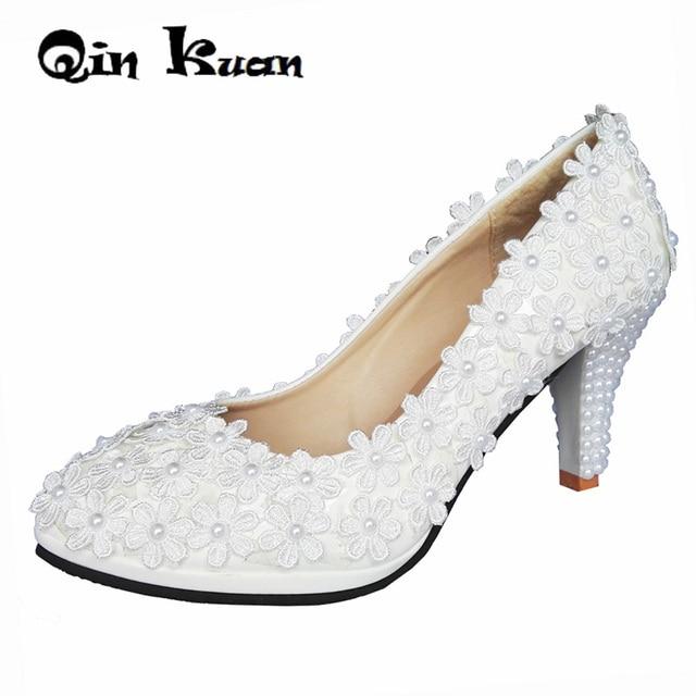Loslandifen Women White Pearl Bead High Heels Pumps Shoes Bridal White Lace  Flowers Wedding Party Dress Stiletto Shoes Q09 409a4c1fceee
