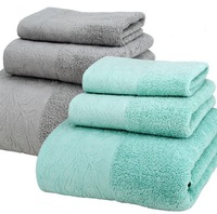 New High Quality Luxury 100% Cotton Fabric Purple White Towel Set Bath Towels For Adults/Child Face Towel Bathroom set 3 Pieces