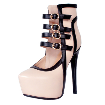 2018 New Fashion Womens High Heels Casual Party Platform Pumps Buckle Straps Round Toe Shoes Lady Plus Big Large Size 43
