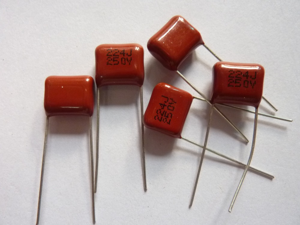 100pcs CBB 224 250V 224J CL21 0.22uF 220nF P10 Metallized Polypropylene Film Capacitor
