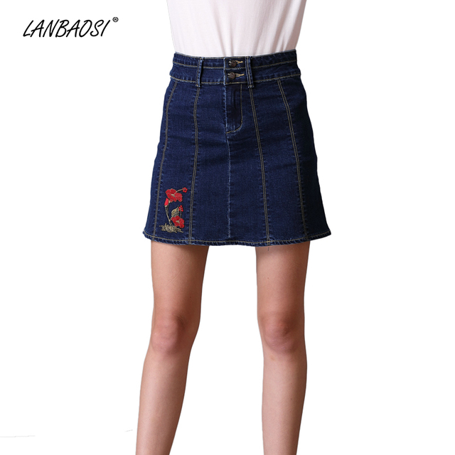 06e3cb56c5 LANBAOSI Casual Embroidery Jeans Skirt for Women High Waist A Line Mini Denim  Skirt Cowgirl Female Jean Miniskirts Plus Size