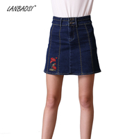 LANBAOSI Casual Embroidery Jeans Skirt for Women High Waist A Line Mini Denim Skirt Cowgirl Female Jean Miniskirts Plus Size