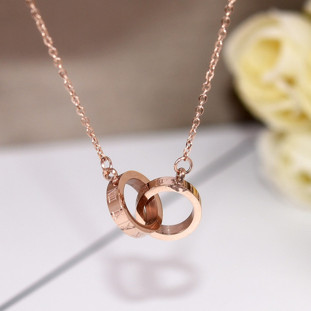 Gold l pendant necklace necklaces pendants yun ruo fashion rose gold color roman numerals circles pendant aloadofball Gallery