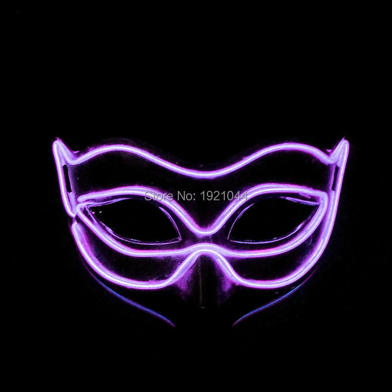 EL Luminous Colorful Mask Powered by 2AA batteries Half Face PVC Shining Flash LED Light Mask Cosplay Mask Party Decoration