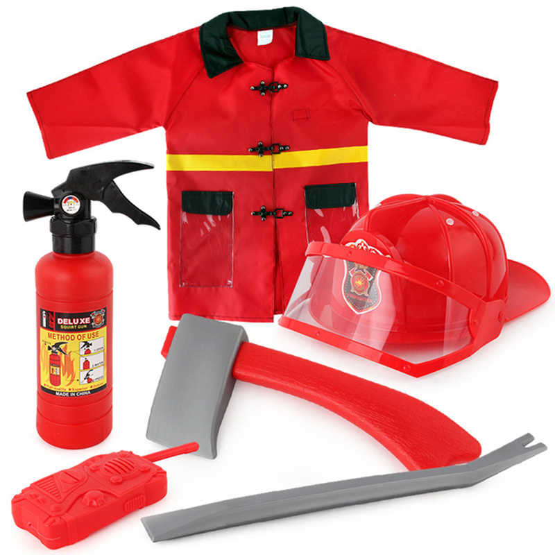 mylb 8 children's firefighting clothes firefighter play suit single piece waterproof firefighter stage show for Children Summer