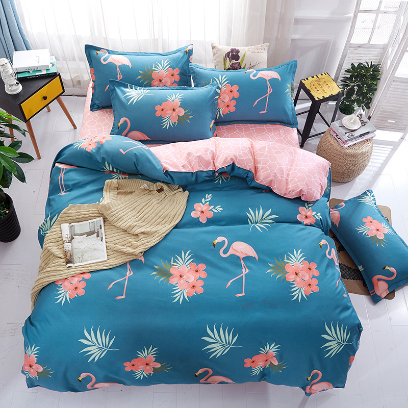 2017 100% Cotton Flamingos Bedding Sets Printed Lovely and Comfortable bedsheet/duvet cover Twin Size Queen King for Children
