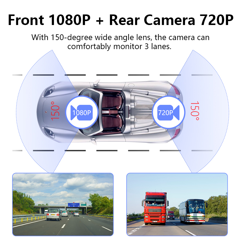 Image 5 - 10 Inch Touch Screen Stream Car DVR Rear View Mirror Dash Cam Full HD Car Camera 1080P Back Camera Dual Lens Video Recorder-in DVR/Dash Camera from Automobiles & Motorcycles