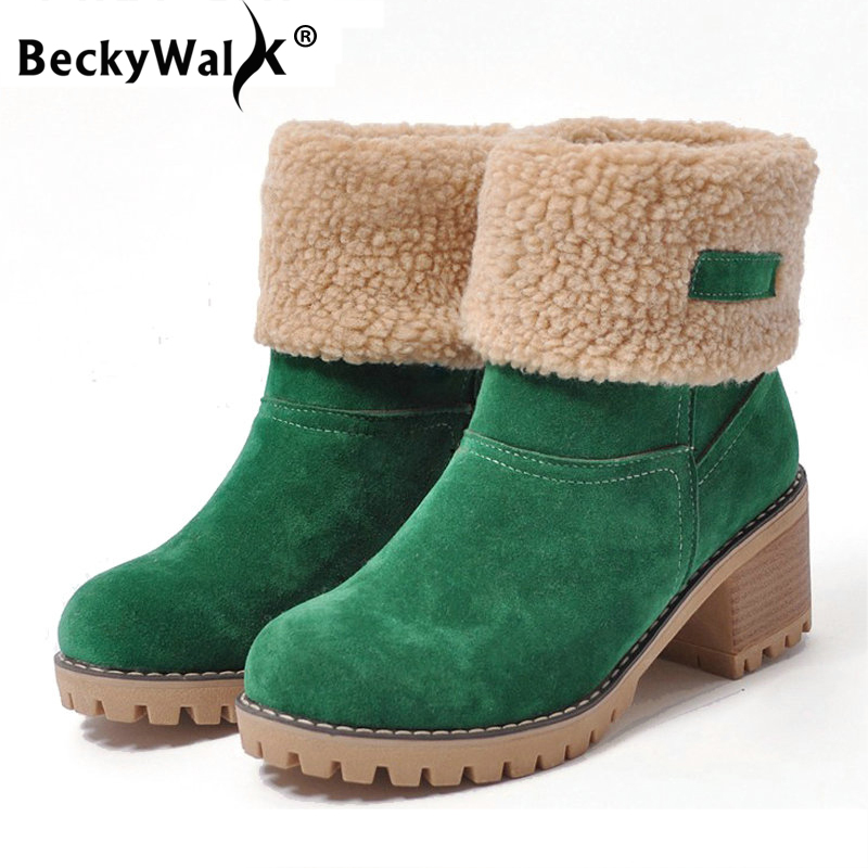 Medical Science Fast Deliver Fashion Women Boots Female Winter Shoes Woman Square High Heels Snow Boots Women Fur Warm Ankle Boots Ladies Shoes 34-43 Wsh3133 Teaching Resources