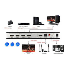 New 4 In 1 Out 4K 3D HDMI 2.0 Switcher Support HDCP 2.2, ARC &  IR Remote Control 4×1 HDMI Port Switch Audio Extractor HUB Box