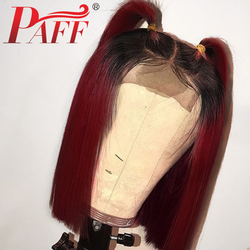PAFF Short Bob Ombre 99J Lace Front Human Hair Wigs with Baby Hair 130 Density Two