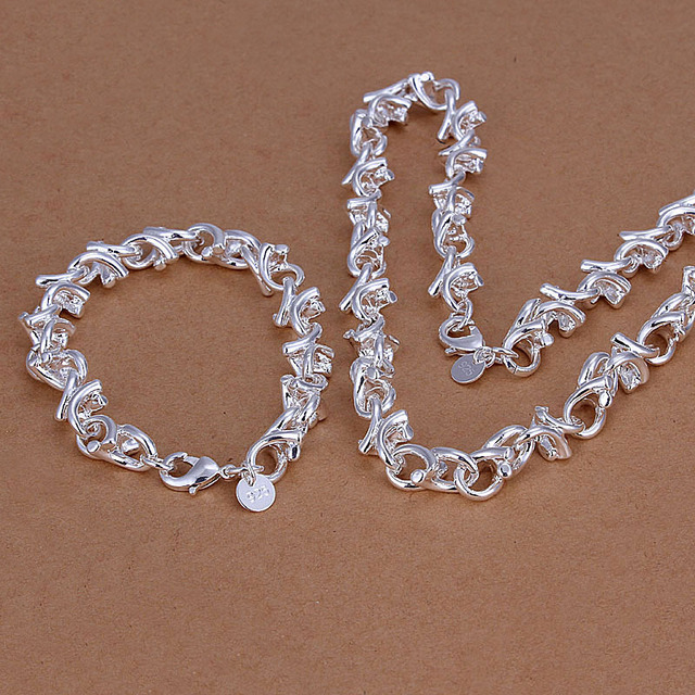 Wholesale free shipping branch big Chain silver plated jewelry sets Bracelet + Necklace Fashion silver set