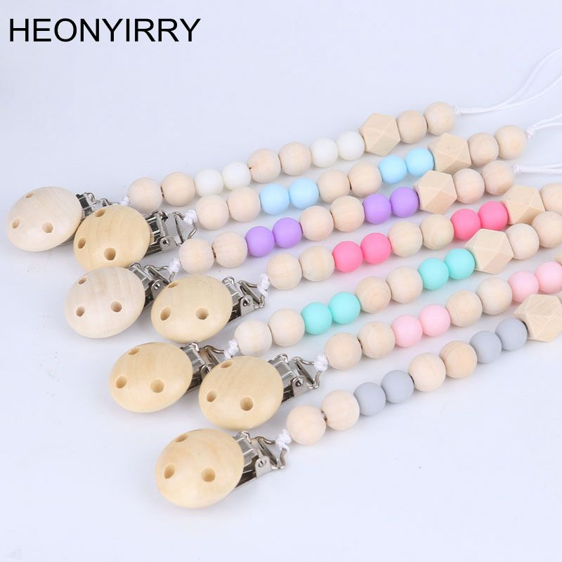 Baby Pacifier Clip Chain Chupetas Soother Pacifier Clips Leash Strap Wooden Holder Nipple Holder For Infant Feeding