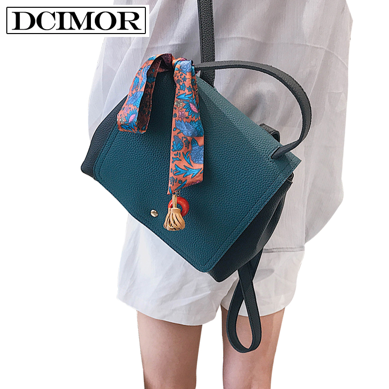 DCIMOR Brand Women Leather Backpacks High quality Panelled Casual Backpack Student Bag With ornaments scarf Daily Backpack Girl 4 pieces set of summer women canvas backpack girl student lace book bag with high quality backpack child juvenile bag