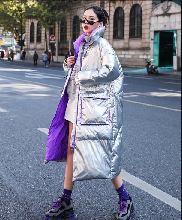 Women Silver   Down   Jacket 2019 New Winter Streetwear Loose Medium Long White Duck   Down     Coats   Female Ultra Light Warm Outerwear