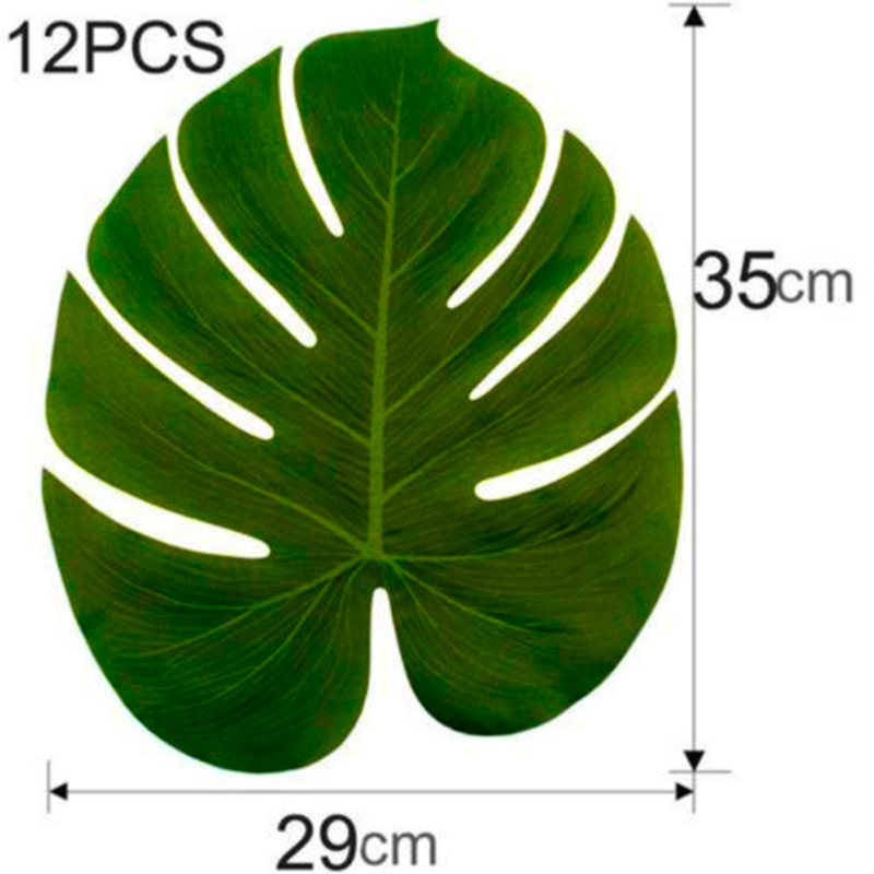 12Pcs/Set Green Jungle Artificial Leaf Tropical Palm Leaves Island Style Simulation Plant Wedding Party Table Home Decor