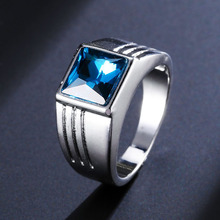 RE 10mm blue gem ring men classic wedding silver engagement band 6#-11# J40