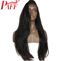 PAFF Yaki Straight 13x6 Deep Glueless Lace Front Human Hair Wigs For Women Indian Remy Hair Middle Part Pre plucked Hairline