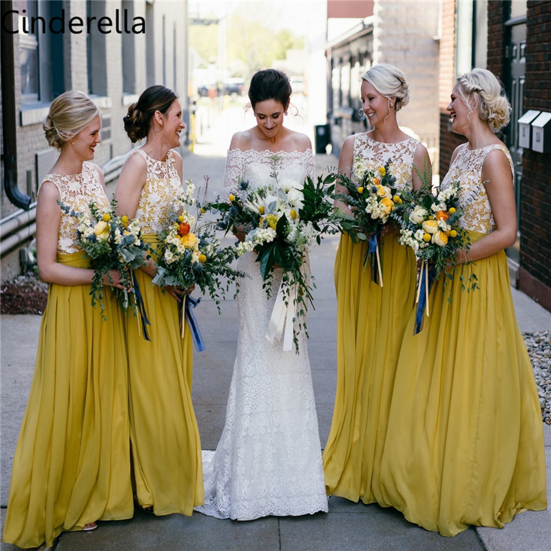 Cinderella Yellow Scoop Sleeveless Floor Length Lace Chiffon Pleated Lace Bridesmaid Dresses Lace Chiffon Bridesmaid Gowns