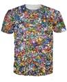 Mulheres / homens 3D Cartoon Pokemon colagem camiseta de manga curta de Pirnts pokeballs pokedex pegar de T