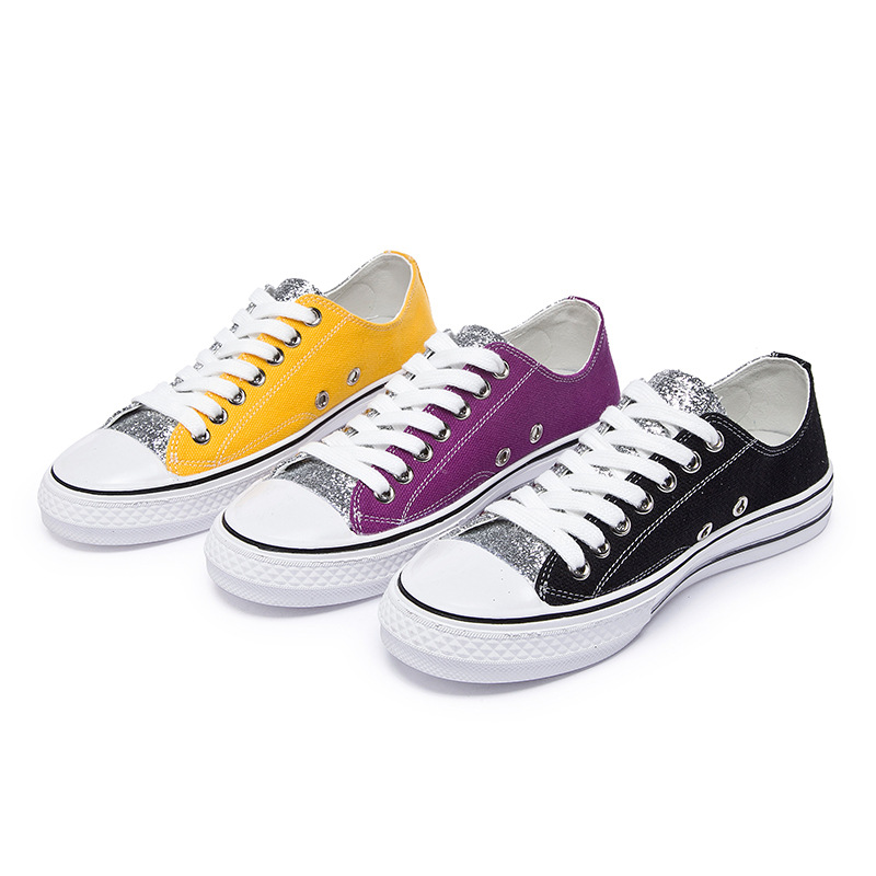 Zhenwei Ins Mandarin Duck Shoes Summer Casual Low-top Women Bling Sequins Candy-colored Canvas Skate Sneakers