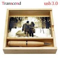 Transcend USB Ổ Đĩa Flash USB pendrive + box 8 GB 16 GB pendrive Gỗ creative 32 GB 64 GB bút ổ đĩa quà u đĩa
