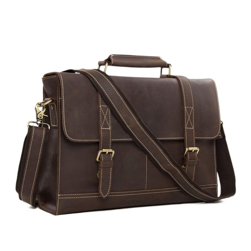 ROCKCOW Business Men's Handmade Leather Briefcase messenger satchel bag 14'' Laptop Crossobdy Shoulder Bag 6938 redfox сумка full size business messenger 1000 черный