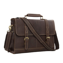 "ROCKCOW Business Men's Handmade Leather Briefcase messenger satchel bag 14"" Laptop Crossobdy Shoulder Bag 6938"