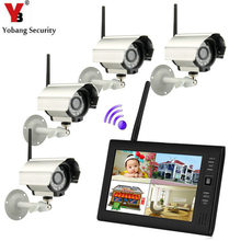 Yobangsecurity 7 «TFT ЖК-дисплей DVR Мониторы 2.4 ГГц цифровой Беспроводной 4ch видеонаблюдения DVR Камера Системы Скрытого видеонаблюдения (4 Камера S комплект)