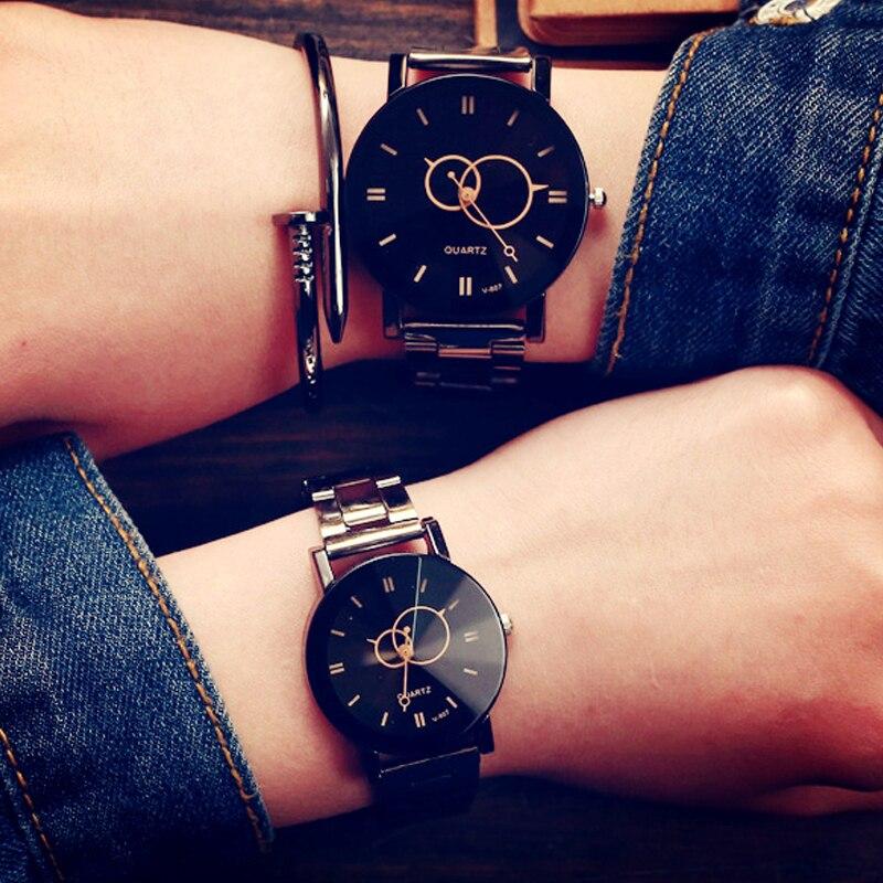 Fashion Design Women Watches Fashion Black Round Dial Stainless Steel Band Quartz Wrist Watch Mens Love Gifts Relogios Feminino