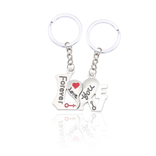 New Fashion Hollow Love You Key Ring Silver Alloy Always Couple Jewelry Men And Women Christmas Gift