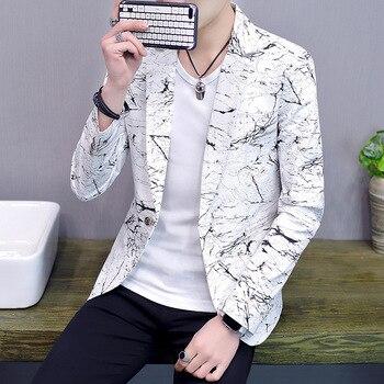 2019 Men 's Casual Stand Collar Suit Youth Handsome Trend Slim Costume Homme Imprim Blazer Men фото