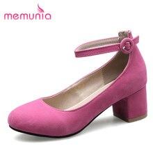 MEMUNIA tamaño grande 34-46 tacones altos zapatos de las mujeres zapatos de verano moda punta redonda hebilla de bombas simples dulces solos zapatos nuevos llegan