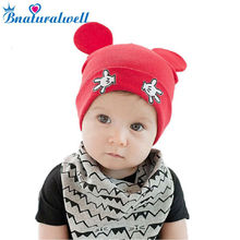 Bnaturawell Baby Hats Warm Cotton Knitted Kids Newborn Caps Infant Cartoon Hats Lovely Mouse Boys Girls Caps Beanie Hats H760