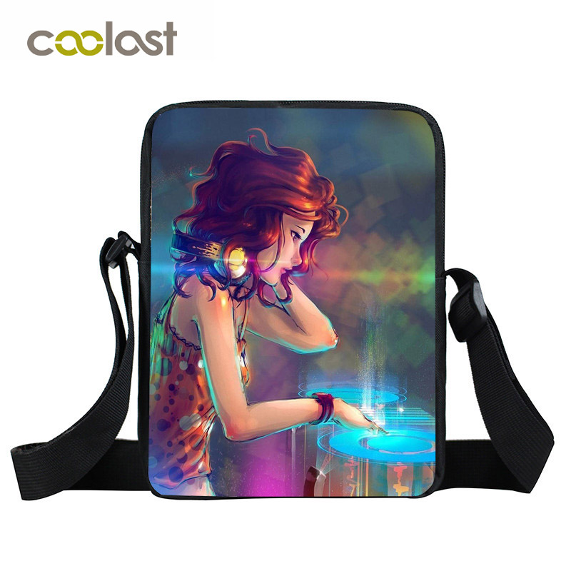Cartoon DJ Women Messenger Bag Boys Girls Hot CD Player Mini Shoulder Bag Children School Bags Portable Crossbody Bags sacoche