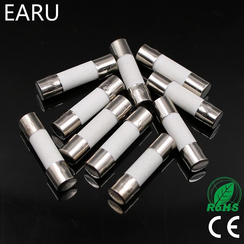 10pcs Ceramic Fuse 5mm x 20mm Slow Blow T 0.5A 1A 2A 3A 4A 5A 6A 8A 10A 13A 15A 16A 20A 30A 250V Car Cigar Microwave Oven все цены