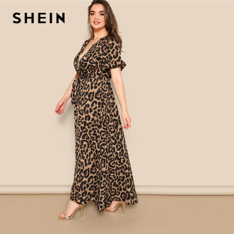 Image 2 - SHEIN Women Plus Size Flounce Sleeve Tie Waist Surplice Wrap 