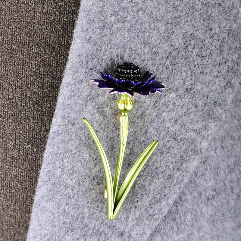 Blucome Elegan Bunga Bentuk Pin Enamel Bros Wanita Gadis Mantel Kerah Pin Perjalanan Liburan Dekorasi Perhiasan Aksesoris Hadiah