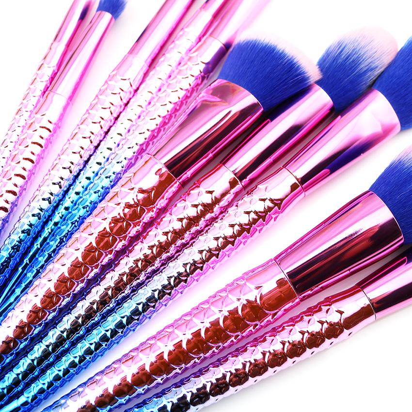 10PCS High Quality Mermaid Makeup Brushes Set