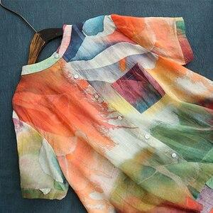 Image 3 - Johnature camisas do vintage botão de impressão de arte de manga curta blusa feminina 2020 verão moda solta selvagem blusa das senhoras