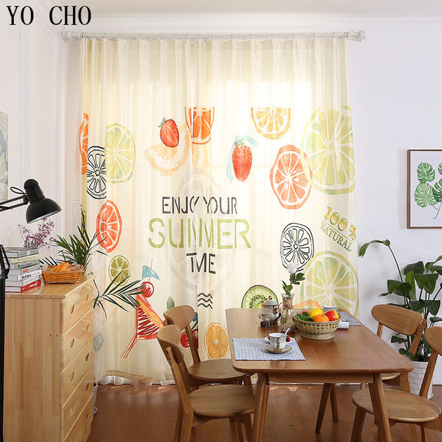 YO CHO Hot Sale Lemon Orange Blackout Curtains For Living Room Popular High Quality Fabric Printed
